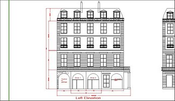 Part of a draft CAD drawing of a bespoke dolls house facade.