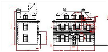 Part of a draft CAD drawing of a bespoke Queen Anne dolls house.