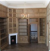 Regency dolls house panelled library.