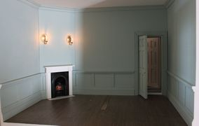 Regency dolls house interior view of Boudoir with half-panelling.